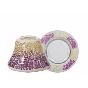 Petit Abat-Jour + Plateau Purple & Gold Crackle Yankee Candle
