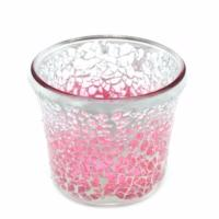 Support à bougie votive Pink Fade Crackle